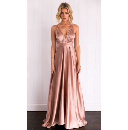 Kylie Muti-way Long Straps Satin Dress
