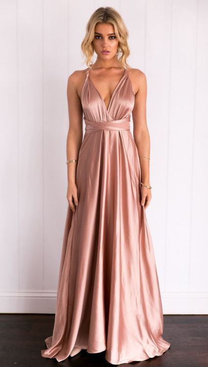 Kylie Muti-way Long Straps Satin Dress