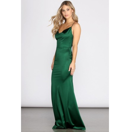 Quinn Cowl Mermaid Maxi Satin Dress