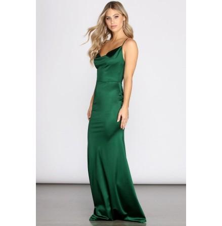 Quinn Cowl Mermaid Maxi Satin Dress